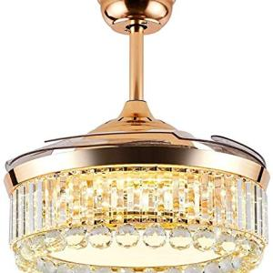 SAM Gold Luxury Crystal Ceiling Fan Light, 42 inch Adjustable Three-Color Lighting and Three-Speed Ceiling Fan Light, Suitable Living Room Bedroom Lighting Chandelier with Remote Control