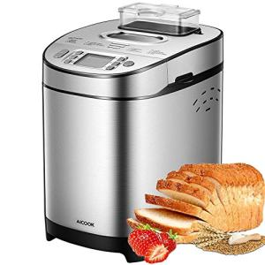 [2020 Upgraded] Stainless Steel Bread Machine AICOOK, 2LB Programmable Bread Maker with Fruit Nut Dispenser, Nonstick Ceramic Pan, 3 Crust Colors & 2 Crust Colors, 13-in-1, Gluten-Free Setting, Reserve& Keep Warm Set