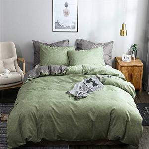 Argstar 3 Pcs Green Duvet Cover Queen Size, Reversible Texture Pattern Bedding Set with Zipper, Lightweight Microfiber Comforter Cover, 1 Duvet Cover and 2 Pillowcovers