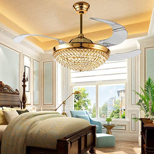 """A Million 42"""" Crystal Ceiling Fan Light with Retractable Blades Remote Control LED Chandelier Fan 3 Speeds 3 Colors Changes Lighting Fixture, Silent Motor with LED Kits Included (Gold)"""