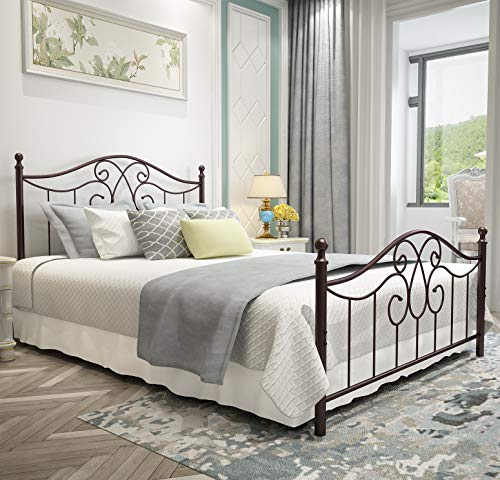 Vintage Sturdy Metal Bed Frame Queen Size with Vintage Headboard Guarantee: All merchandise bought have a 5 years guarantee as commonplace.