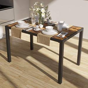 IRONCK Industrial Dining Table, 47.2 x 29.9 x 29.9 Inches Dinner Table, Heavy Duty Metal Frame, Kitchen Table for Living Room, Dining Room