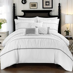 Chic Home Cheryl 10 Piece Comforter Set Complete Bed in a Bag Pleated Ruched Ruffled Bedding with Sheet Set and Decorative Pillows Shams Included, Queen White