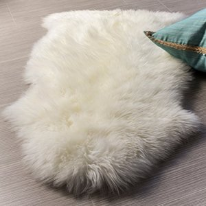 Super Area Rugs Luxury New Zealand Shearling 2x3 Sheepskin Rug, Single Pelt, Natural
