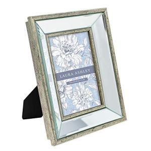 Laura Ashley 4x6 Silver Beveled Mirror Picture Frame, Classic Mirrored Frame with Deep Slanted Angle, Wall-Mountable, Made for Tabletop Display, Photo Gallery and Wall Art, (4x6, Silver)
