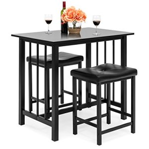 Best Choice Products Counter Height Dining Table Set w/ 2 Faux Leather Stools