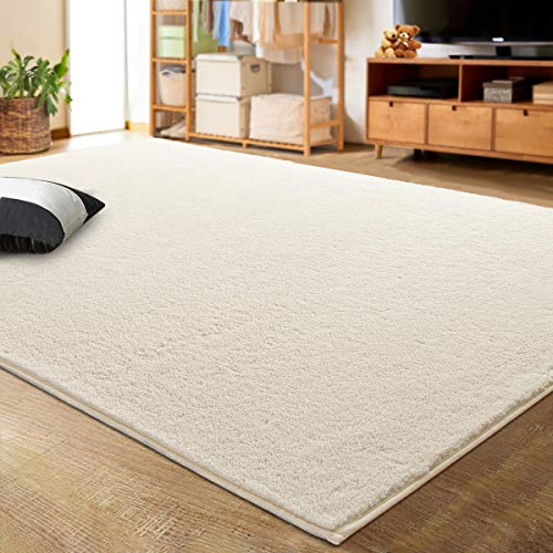 LOCHAS Luxury Faux Cashmere Shag Area Rug 4x6 Feet, Extra Soft and Comfy Carpets, Indoor Comfortable Modern Rugs for Bedroom Living Room Kids Home, White