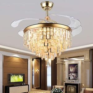 Orillon LED Chandelier Ceiling Fan with Light Indoor 42 Inch Polished Gold Modern Luxury Crystal Retractable Fandelier with Remote and a free Wall Control-3 Color Setting, Blades Adjust in 2 Direction