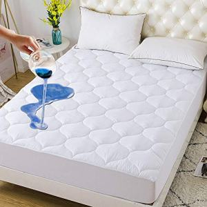 """DOWNCOOL Waterproof Mattress Pad Microfiber Top with Stretches to 15"""" Deep Pocket Fits Up to 8""""-21"""" Cooling Mattress Protector White Bed Topper (Down Alternative, Queen 60x80Inch)"""