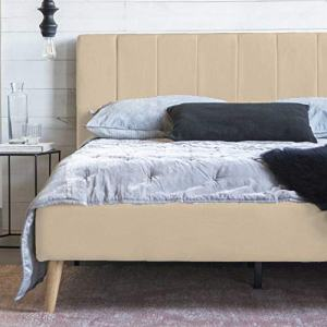 Full Size Platform Bed Frame and Tufted Upholstered Headboard, Mattress Foundation & Wooden Slat Support - No Spring Box Needed Bedframes, Wood Bedframe (Beige White)