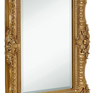 "Hamilton Hills Large Ornate Gold Baroque Frame Mirror | Aged Luxury | Elegant Rectangle Wall Piece | Vanity, Bedroom, or Bathroom | Hangs Horizontal or Vertical (30"" x 40"")"