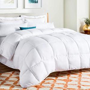 Linenspa All-Season White Down Alternative Quilted Comforter - Corner Duvet Tabs - Hypoallergenic - Plush Microfiber Fill - Machine Washable - Duvet Insert or Stand-Alone Comforter - Queen