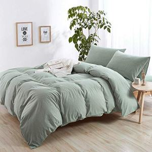 AMWAN Solid Green King Duvet Cover Set Cotton Hotel Duvet Cover Set Modern Luxury Bedding Set Washed Cotton Comforter Quilt Cover Set 1 Duvet Cover with 1 Pillowcases Solid Bedding Collection