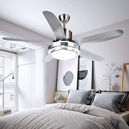 Luxurefan Led Simple Modern Ceiling Fan Light Durable Decoration for Modern Home Restaurant and 5 Premium Plastic Leaves and Elegant Frosted Shade Remote Mute Chandelier of 52Inch