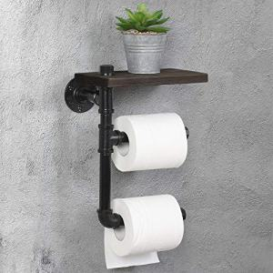 HAITRAL Pipe Toilet Paper Holder - Rustic Tissue Paper Roll Holder Wall-Mounted Wooden Shelf, Iron Metal Pipe Holder for Bathroom, Washroom - Black