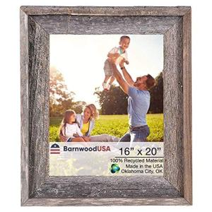 BarnwoodUSA | Farmhouse Style Rustic 16x20 Picture Frame | Signature Molding | 100% Reclaimed Wood | Rustic | Natural Weathered Gray