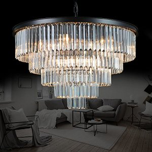 Meelighting Luxury Modern Crystal Chandeliers Lighting Contemporary Pendant Chandelier Ceiling Lamp Lights Fixture 5-Tier (16 Lights) for Dining Room Living Room Hotel