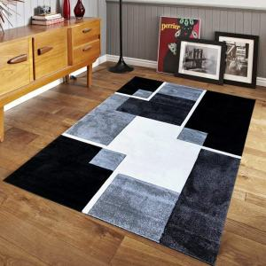 Renzo Collection Easy Clean Stain and Fade Resistant Luxury Black Area Rug for Bedroom Kitchen Dining Living Room, Modern Geometric Space Design with Jute Backing (Size 8' x 10' Feet)