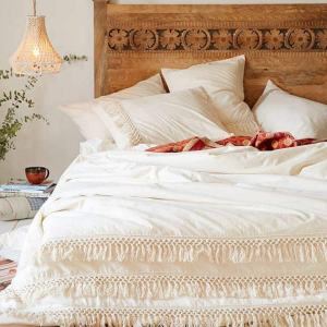 White Duvet Cover Fringed Cotton Tassel Duvet Cover Quilt Cover Full Queen, 86inx90in