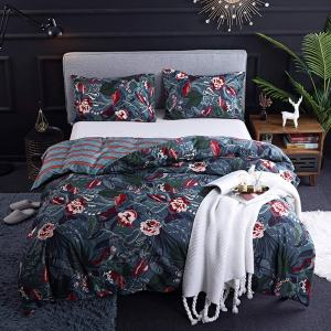 CoutureBridal Dark Blue Boho Bedding Sets Queen Size Floral Bird Leaves Pattern Printed with Zipper Ties Reversible Striped Duvet Cover Set Luxury Microfiber Comforter Quilt Cover 90X90