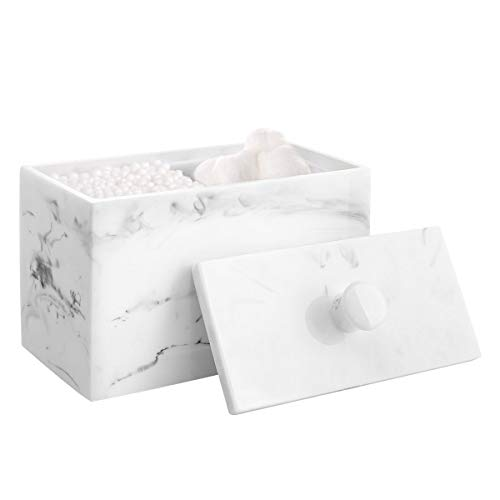 Cotton Swab Holder, Luxspire Resin Cotton Ball Canister with Lid, 2 Compartments Dispenser Storage Box Cosmetics Countertop Organizer Containers for Cotton Pads, Rounds - Ink White