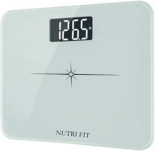 """NUTRI FIT High Precision Digital Body Weight Bathroom Scale with Ultra Wide Platform and Easy-to-Read Backlit LCD, 400 Pounds Elegant White (14'' x12""""), KG ONLY"""