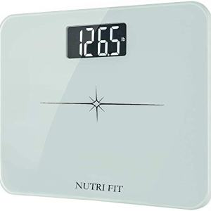 "NUTRI FIT High Precision Digital Body Weight Bathroom Scale with Ultra Wide Platform and Easy-to-Read Backlit LCD, 400 Pounds Elegant White (14'' x12""), KG ONLY"