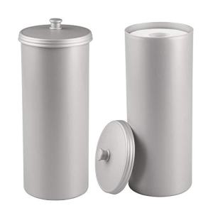 mDesign Plastic Free Standing Toilet Paper Holder Canister - Storage for 3 Extra Rolls of Toilet Tissue - for Bathroom/Powder Room - Holds Mega Rolls - 2 Pack - Light Gray