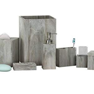nu steel NuSteel Stone Hedge Resin Bath Accessory Set Vanity Countertop,7 pcs Luxury Ensemble-Cotton Swab, Dish,Toothbrush Holder,Tumbler, soap Pump,Wastebasket,Tissue Box-Marble Finish