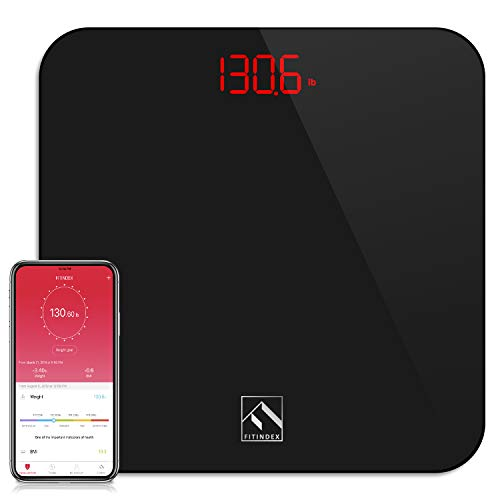 FITINDEX Smart Digital Body Weight Scale, BMI Bathroom Scale with Smartphone App, Step-on Technology, Sturdy Tempered Glass