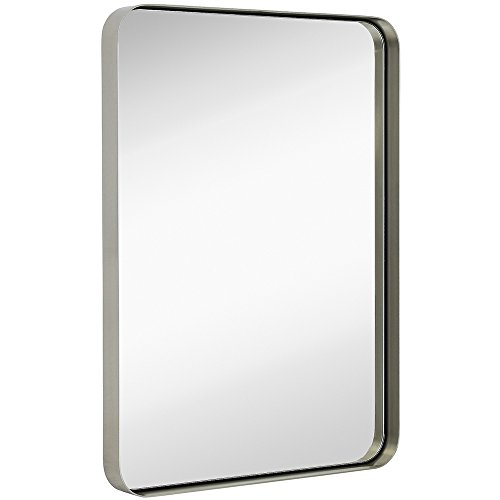 "Hamilton Hills Contemporary Brushed Metal Wall Mirror | Glass Panel Silver Framed Rounded Corner Deep Set Design | Mirrored Rectangle Hangs Horizontal or Vertical (22"" x 30"")"