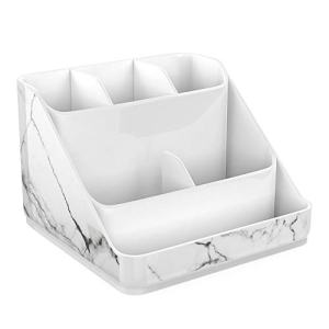 Luxspire Makeup Organizer, Marble Pattern Cosmetic Storage Organizer Tray, 6-Compartment Cosmetic Display Case, Jewelry Storage Box Make up Holder for Makeup Brushes, Lipsticks and More - White Marble