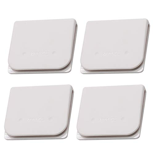 EONMIR 4 Pack Windproof Stop Protect Clips, Shower Splash Guard Curtain Clip, Self Adhesive Shower Curtain Clips Splash (White)