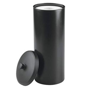 mDesign Plastic Free Standing Toilet Paper Holder Canister - Storage for 3 Extra Rolls of Toilet Tissue - for Bathroom/Powder Room - Holds Mega Rolls - Black