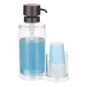 mDesign Modern Plastic Mouthwash Pump Caddy and Disposable Cup Holder - Compact Storage Organizer for Bathroom Vanity, Countertop, Cupboard - Includes 8 Paper Cups - Clear/Bronze