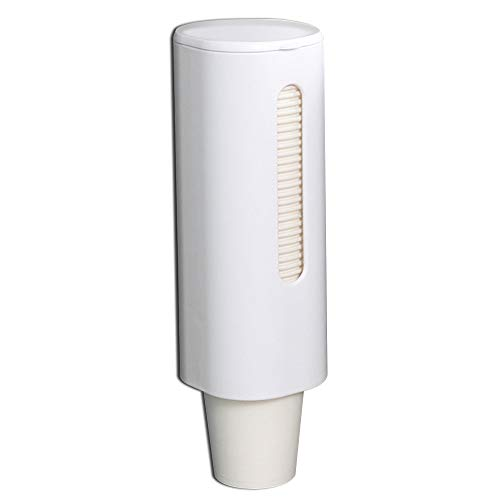 """Samhe Pull Type Cup Dispenser, Paste Mountable Cup Holder, Fits 4oz - 7oz Cone or Flat Bottom Cups, 9"""" Tube Length, Mounting Water Dispenser Cooler or Wall White"""