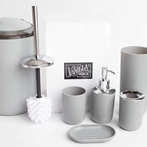 Vanilla Brick Bathroom Accessories Set, Soap Dispenser, Toothbrush Holder, Tumbler Cup, Soap Dish, Trash Can, Toilet Brush with Holder, 6 Piece Plastic Bath Gift Set (Grey)