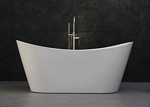 "WOODBRIDGE B-0015 Acrylic Freestanding Bathtub Contemporary Soaking Tub with Brushed Nickel Overflow and Drain, White, 67"" B-0010"