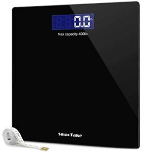 Weight Scale, SmarTake Precision Digital Body Bathroom Scale with Step-On Technology, 6mm Tempered Glass Easy Read Backlit LCD Display, Body Tape Measure Included, 400 Pounds, Black