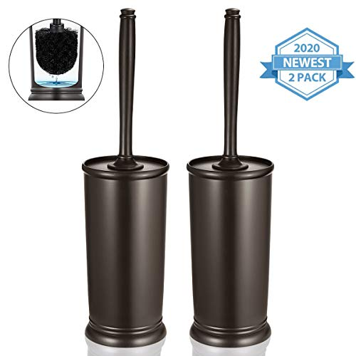 Homemaxs Toilet Brush and Holder 2 Pack 【2020 Upgraded】 Deep Cleaning Toilet Bowl Brush Set Ergonomic, Sturdy Bathroom Accessories Plastic