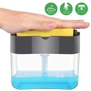 MiKoSoRu Soap Dispenser, Durable & Rust Proof 2 in 1 Kitchen Sponge Holder, Press Hand Pump Dispenser with Sponge Caddy Organizer Holder for Kitchen Sink Dish Washing Soap Dispense