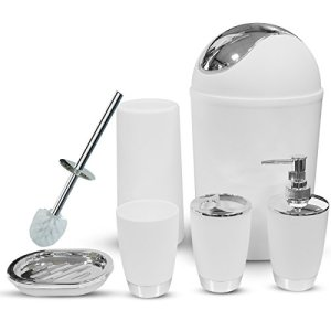 Bathroom Accessories Set, 6 Pieces Plastic Gift Set Bathroom Accessory Luxury Bathroom Set Includes Toothbrush Holder,Toothbrush Cup,Soap Dispenser,Soap Dish,Toilet Brush Holder,Trash Can(White)