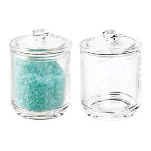 mDesign Glass Bathroom Vanity Storage Organizer Apothecary Canister Jar Holder for Cotton Swabs, Rounds, Balls, Makeup Sponges, Bath Salts, Hair Ties, Makeup - 2 Pack - Clear