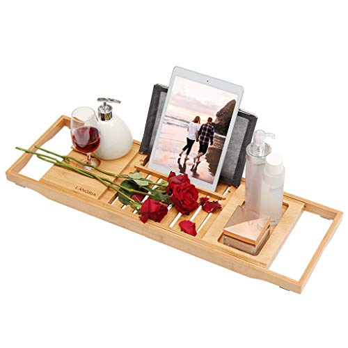 LANGRIA Bamboo Bathtub Caddy Tray with Extending Sides, Adjustable Book or Tablet Holder, Cellphone Tray Organizer and Wine Glass Holder, Nature Bamboo Color