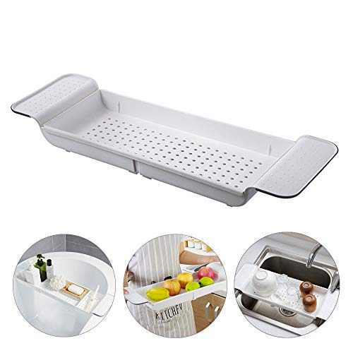YEAKOO Expandable Bath Shelf, Adjustable Bathtub Caddy Tray Storage Rack Multifunctional Bathtub Tub Organizer for Book Wine Phone Bathroom Shower, Non-Slip Grip, White