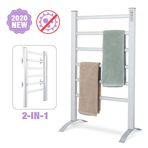 DAILYLIFE Towel Warmer 6 Bar 90W 2-in-1 Freestanding & Wall Mounted Heated Drying Rack, Built-in Timer with Led Indicators, 3 Timer Modes: ON/Off, 2H, 4H, Aluminum Frame Home Bathroom Space Saving