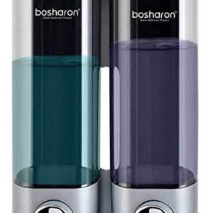 Bosharon Shampoo and Conditioner Dispenser for Shower Wall, Dual Shower Soap Dispenser for Bathroom, Kitchen, Hotels, Restaurants. Shower Soap Dispenser 300 ML (Silver 2 Chambers)