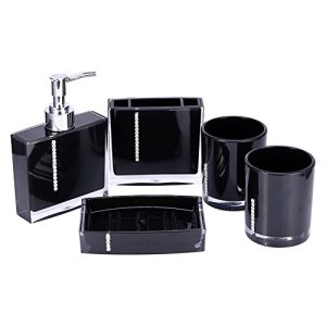 Yosoo 5 Pcs Bathroom Accessory Set Luxury Bath Vanity Set with Toothbrush Holder Containe Tumble Soap Dish Liquid Soap Lotion Pump Dispenser Black