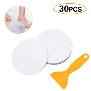 30 Pcs Non-Slip Treads,4x4 Inch,Adhesive Decals,Anti-Slip Stickers,Ideal Appliques Tape For Baby,Senior,Adult.Suit for Bath Tub,Stairs,Shower Room & Other Slippery Surfaces (White)