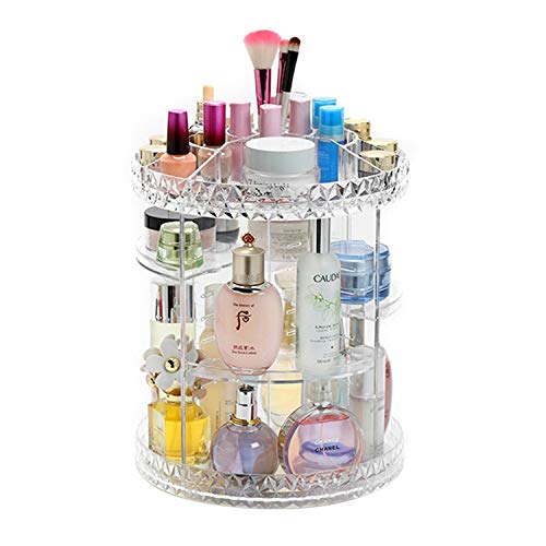 Tebery Clear Makeup Organizer 360-Degree Rotating Adjustable Acrylic Cosmetic Storage Display Case Fits Creams, Makeup Brushes, Lipsticks, Jewelry
